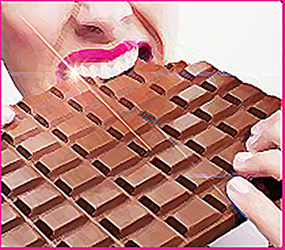 image of person fiercely biting into large chocolate bar
