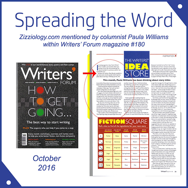 zizziology.com mentioned by columnist Paula Williams within Writers' Forum mag october 2016