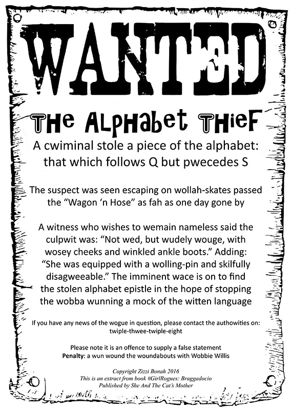 Alphabet Thief - Wanted poster from #GirlRogues Braggadocio book by Zizzi Bonah