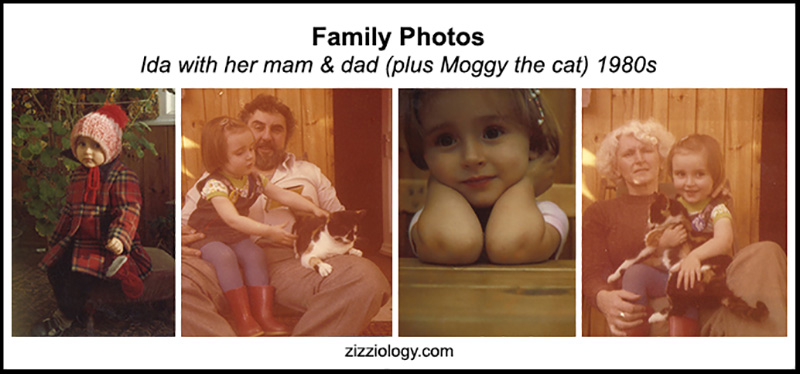 family pictures of Ida Barker with her mam, dad and Moggy the cat in the 1980s