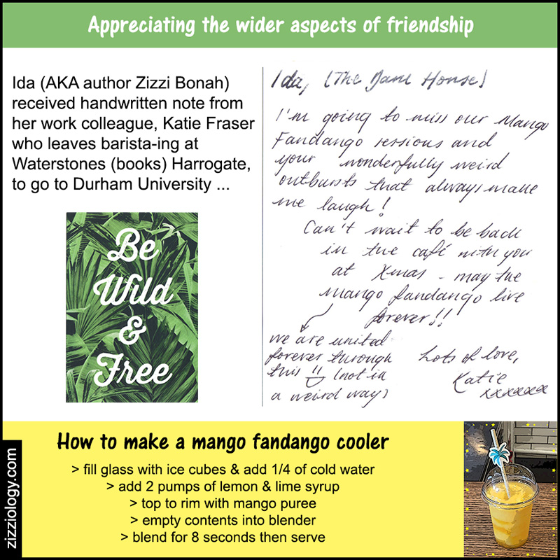Handwritten note from Katie to Ida (AKA author Zizzi Bonah) & instructions to make a mango fandango drink