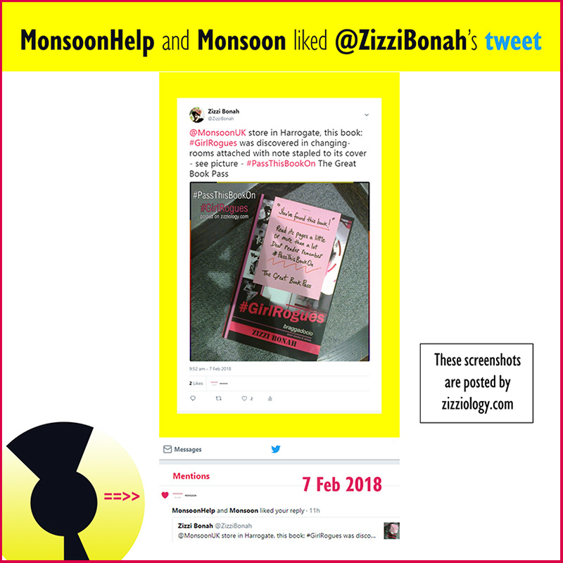 Screenshot showing Monsoon UK clothes store LIKED Zizzi Bonah's tweet