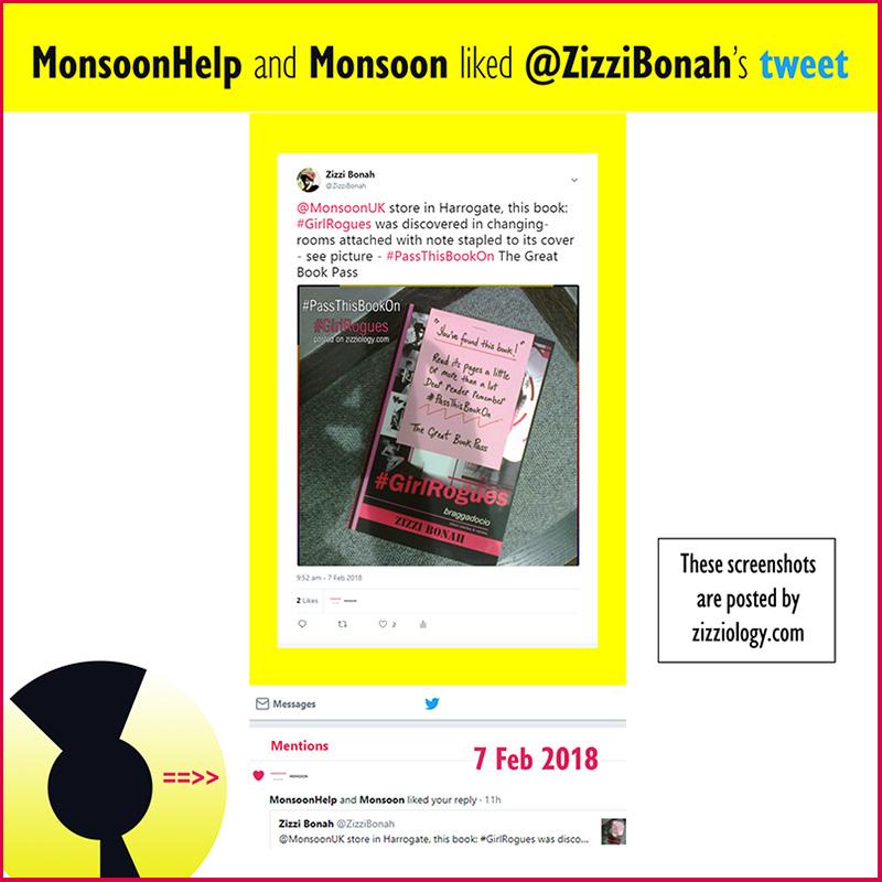 Screenshot showing Monsoon UK clothes store LIKED Zizzi Bonah's tweet